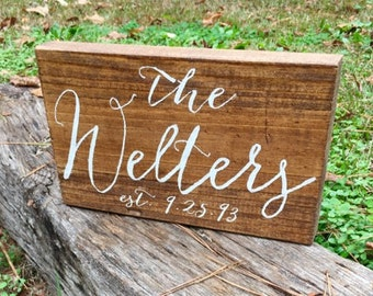 Last Name Sign with wedding year 8x12