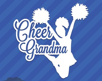 Cheer Grandma Granny Vinyl Decal Sticker Cheerleading Squad Sports School Spirit