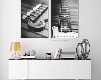 Fender electric guitar/guitar player gift/Set of 2 prints/music decor/garage decor/large canvas art/large wall art/Fender photo guitar