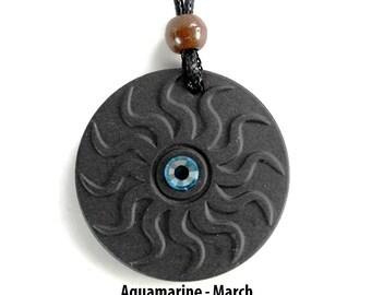QP11 Dalimara Sun Quantum Pendant with Aquamarine March Swarovs Crystal
