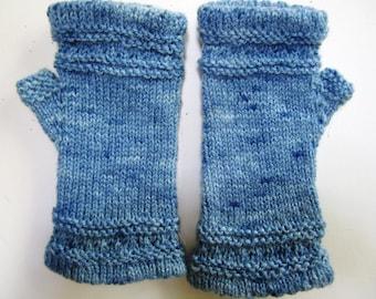 Victorian Fingerless Gloves Texting Mitts Hand Knit Wool Civil War Reenactor Indigo Blue - Size Medium