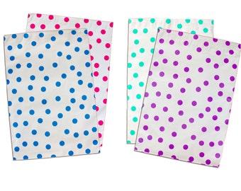 "10"" x 13"" Pink|Teal|Purple|Blue Polka Dot -Flat Poly Mailers, Self Sealing Flat Envelope Mailers, Business Envelopes, Mailer Bags (50 Pack)"