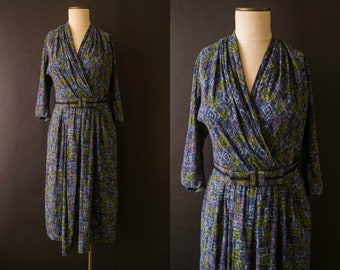 vintage 1950s dress / 50s abstract print dress / medium / Maze Garden Dress