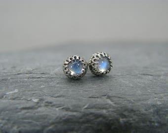 Moonstone studs ~ Rainbow moonstone stud earrings ~ Moonstone earrings ~ Moonstone earrings for women ~ Moonstone post earrings  ~ Moonstone