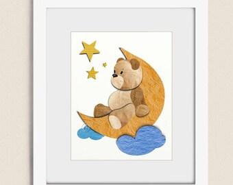 11 x 14 Wall Art for Nursery Decor, Teddy Bear Childrens Art, Babys Room Art, Moon and Stars Nursery Wall Art, Childs Wall Art    (333)
