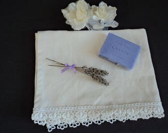 French vintage hand made pure linen and lace guest towel / hand towel (H3)