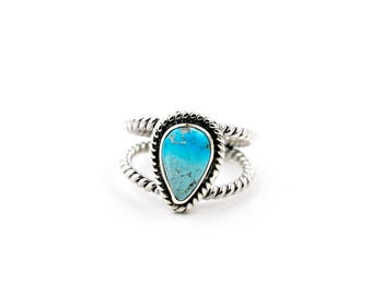 Open Shank Rope-Banded Blue Lavender Turquoise Ring by Turquoise Kingdom