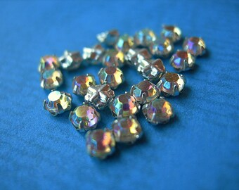 Vintage Rose Montees 3mm Sew-ons SWAROVSKI CRYSTAL AB silver channel settings glass Austrian crystals lot of 24