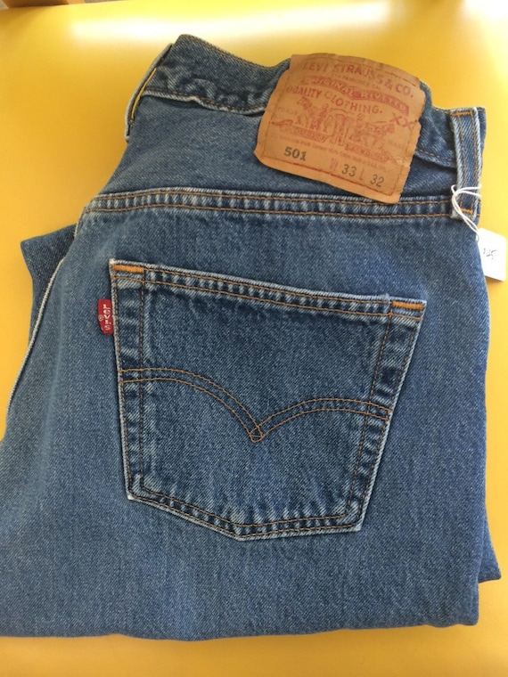 Vintage 501 Red Tab Button Fly Straight Leg Levi's USA 33 x 32 ZT8empxDIU