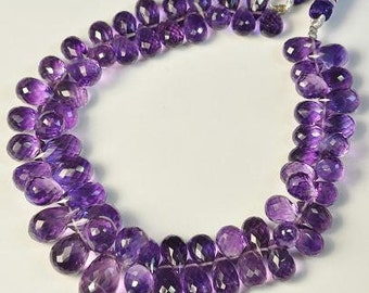 Amethyst Briolettes Natural 5 Purple 6-8mm Briolettes Drilled Loose Semiprecious Faceted Gemstone Beads Take 20% Off Jewelry Craft Supplies