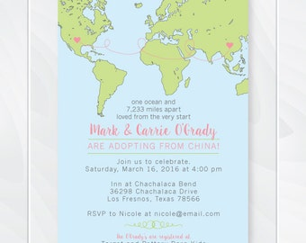 International Adoption Baby Shower Invitation - Custom Adoption Announcement Invite - Miles Apart Loved from the Start - World Map #1012/26