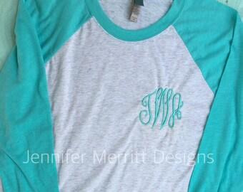 monogram raglan, monogram baseball shirt, monogrammed baseball raglan, monogrammed shirt,  monogrammed baseball shirt , Gift for Her