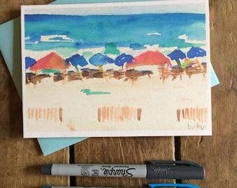 Beach Watercolor Notecard Stationery -- Beach umbrellas, Gulf Shores Alabama