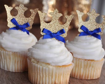 Crown Cupcake Toppers.  Handcrafted in 2-5 Business Days.  Royal Prince Baby Shower Decorations.  12CT.