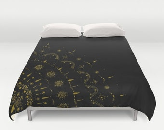 Black and Gold Duvet Cover, gold bed cover, black gold cover, black duvet cover, black gold duvet, gold bedding, black bedding