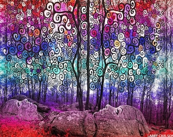 Scribble Forest - psychedelic goddess art