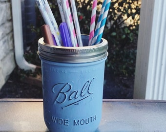 Distressed Mason Jar Pencil/ Brush Holder/ Vanity Shabby Home Decor/ Ball Wide Mouth Pint Glass Jar/ Chalk Paint/ Rustic Country Chic/ Gift