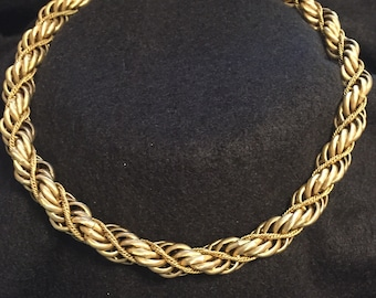 Vintage Monet Spiral rope chain gold tone