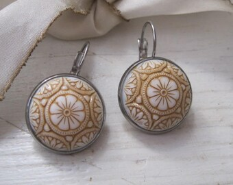 Vintage Beige and White Mosaic Cabochon Antiqued Silver Earrings