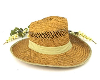 vintage. straw hat. summer hat. home decor. rustic. farmhouse. sun hat. hat. farmhouse decor. rustic home decor. boho. bohemian. country