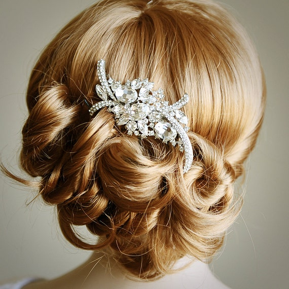 Bridal Hair Comb Art Deco Crystal Rhinestone Wedding Hair
