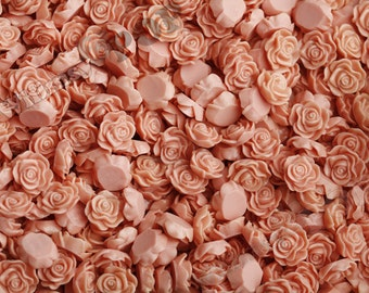 Coral Salmon Flower Cabochons, Flower Cabs, Flat Back Embellishment, Rose Shaped, 13mm (R1-053)