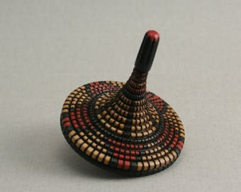 Hand Made Spinning Top with Basket Pattern