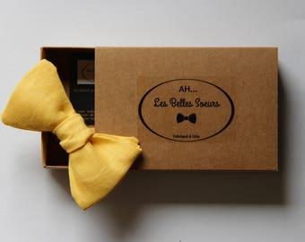 Bow tie fabric cotton linen yellow Thomas