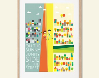 HAPPY | Sunny Sunny Side Of The Street Poster : Modern Illustration Retro Art Wall Decor Print