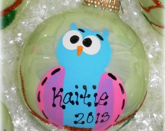 Personalized Owl Glass Christmas Tree Ornament, Whimsical Woodland Christmas Gift,