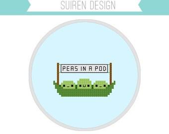 Peas In A Pod Cross Stitch PDF Digital Download