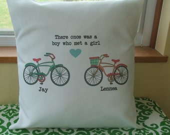 Valentine's Day Gift  bicycle love decorative throw pillow, personalized  throw pillow cover