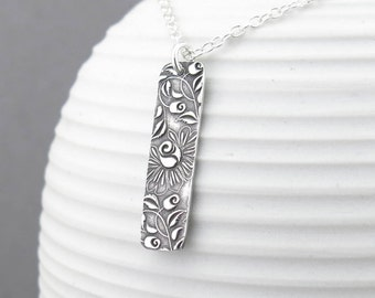 Silver Bar Necklace Sterling Silver Necklace Pendant Rose Necklace Floral Jewelry Bohemian Jewelry Layering Necklace Gift for Her