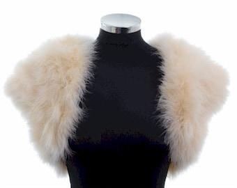 HOLLYWOOD VINTAGE GLAMOUR - Marabou Feather Shrug Wrap Stole Bolero Jacket - Champagne - Plus sizes available