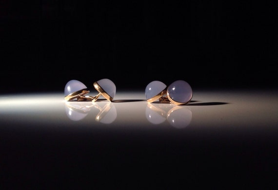 1880 15 CT Gold and Blue Chalcedony Cabochon English Cufflinks 625 Agate - Husband Gift