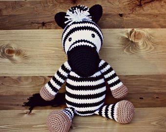 Crocheted Zebra Doll, Zebra Doll, Zebra Gift, Baby Shower Gift, Animal Toy, African Animals, Christmas Gift, Stocking Stuffer, Birthday Gift