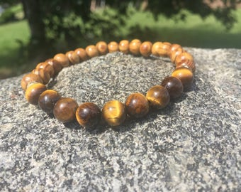 Tiger Eye & Wood Bracelet