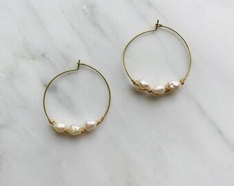 Rustic pearl hoops