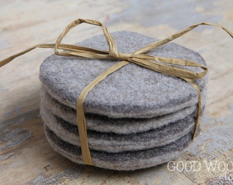 set of four felted wool coasters - two toned
