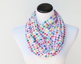 Houndstooth Scarf for Children Boy and Girl Scarf Toddler Scarf Infant Scarf Blue Gray Pink Rainbow Scarf soft jersey knit infinity scarf