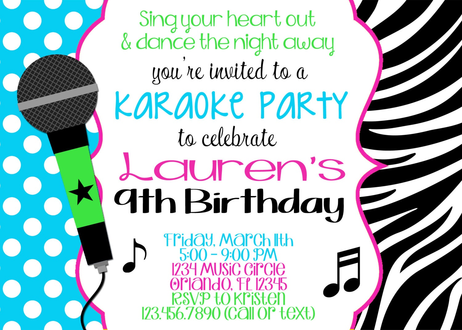 Karaoke girl 5x7 birthday invitation printable zoom stopboris Gallery
