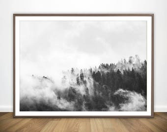 Nature Print • Nature Wall Art Foggy Forest Print Landscape Photography Print Landscape Photo Forest Printable Nature Art Forest Photo Print