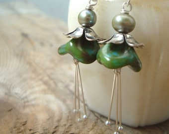 Moss Green Blossom Earrings With Pearl Silver Mothers Day Bridesmaid Jewelry Flower Floral Holiday Jewelry Gifts Under 40 Spring