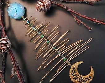 Crystal Christmas Ornament, Gold Christmas Tree Ornament, Gift for Her, Christmas Gift, Solar Quartz Crystal, Turquoise Christmas Ornament