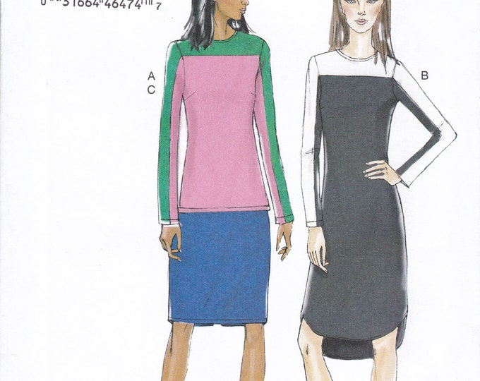 FREE US SHIP Vogue 9166 Easy Custom Fit Sewing Pattern Top Skirt Dress Pullover Size 14 16 18 20 22 Bust 36 38 40 42 44 Plus Uncut