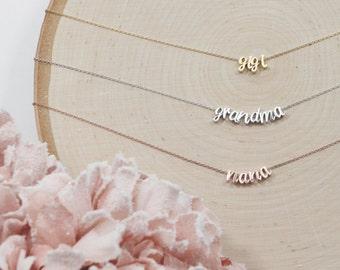 Script Grandma Necklace | Custom Grandmother Necklace | Nana | Mimi | Gigi | Mema | Yaya | Abuela | Oma | Pregnancy Reveal| Mothers Day Gift