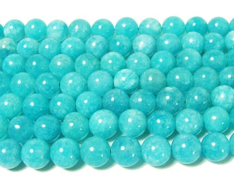 Aqua Blue Marble Round Gemstone Beads