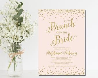 Bridal Brunch Invitation Bridal Shower invite bridal brunch invite bridal shower invitation wedding shower bridal luncheon blush gold