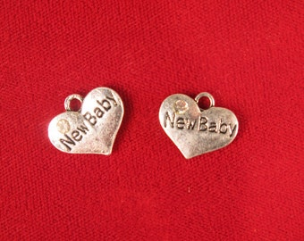 """5pc """"New Baby"""" charms in antique silver style (BC534)"""