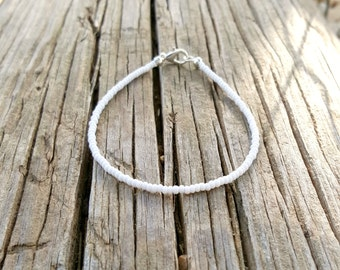 white anklet beach seed bead surfing anklet for weddings vacations cruise nautical